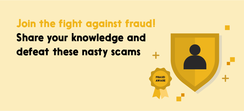 """Completion badge: """"Join the fight against fraud! Share your knowledge and defeat these nasty scams"""""""