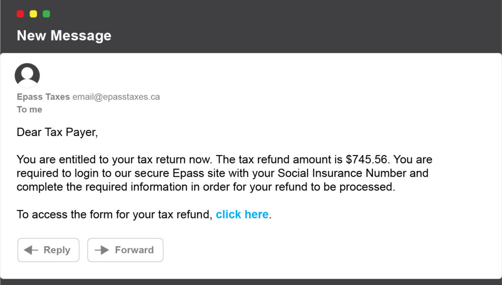 Illustration shows an email that looks like a typical phishing scam involving taxes.