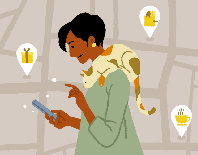 Illustration: Woman looking at smartphone against a stylized map showing local shops and services.