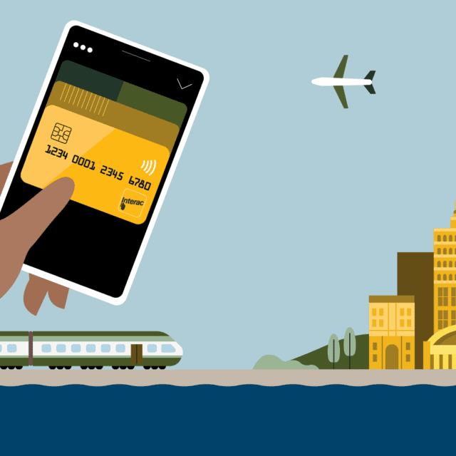 Illustration of digital wallet with Interac Debit card, with train arriving at cityscape